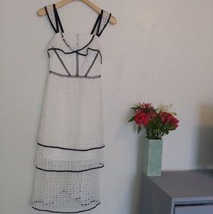 Gianni Joni white crochet ruffled dress